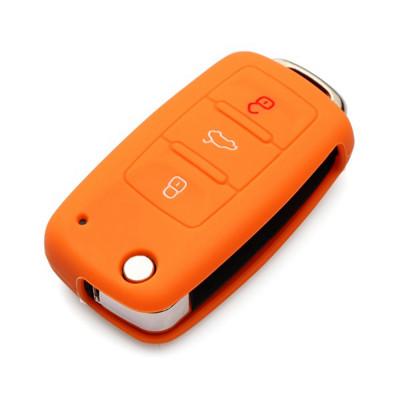 Силиконовый чехол для выкидного ключа с 3-мя кнопками (Skoda/Seat/Volkswagen Golf, Jetta, Touran, Tiguan, Passat, Polo)