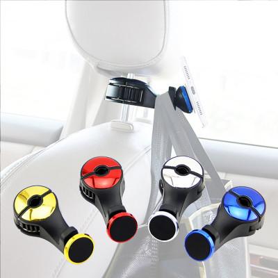 Вешалка-крючок с магнитным держателем для телефона на подголовник передних сидений автомобиля