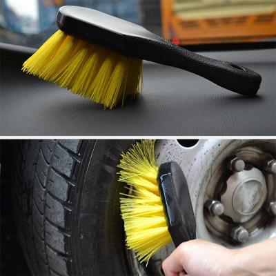 1 шт. Щетка с желтым синтетическим ворсом для мытья колес, щетка для чистки дисков, автомобильная щетка с жёсткой щетиной