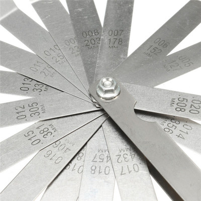 16 шт. щупы для измерения зазоров клапанов, измерительный щуп, набор щупов, 16 лезвий, 0.05-0.20 (0,127-0,508 мм)