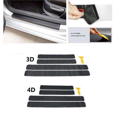 4шт. Наклейка на порог автомобиля против удара ногами, наклейки против царапин из углеродного волокна