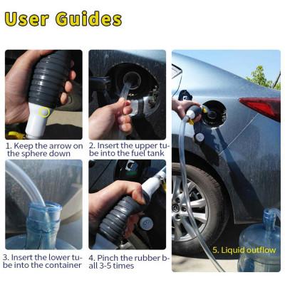 Шланг с грушей для перекачки технических жидкостей (топливо, бензин, дизель, масло, вода и прочее)
