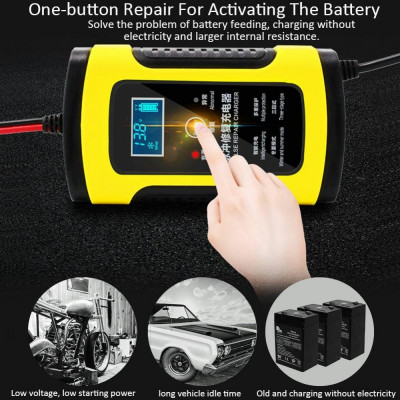Автоматическое автомобильное зарядное устройство для аккумуляторов с ЖК-дисплеем 12В/6А